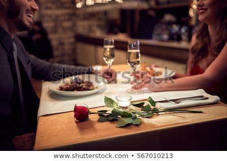 çift akşam yemeği restoran yeme kadın gıda Stok fotoğraf © HASLOO