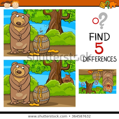 Childrens spot the difference puzzle of a bear Stock photo © adrian_n