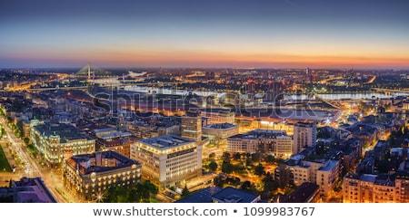 Belgrado · paisagem · cidade · Sérvia · ponte · reflexão - foto stock © badmanproduction
