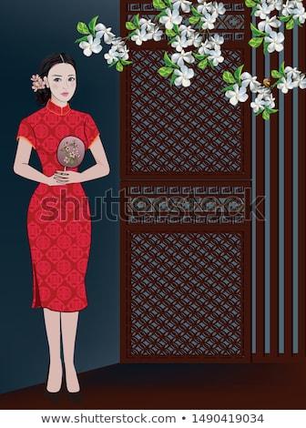 Bastante mulheres ano novo chinês vermelho monetário dom Foto stock © anan