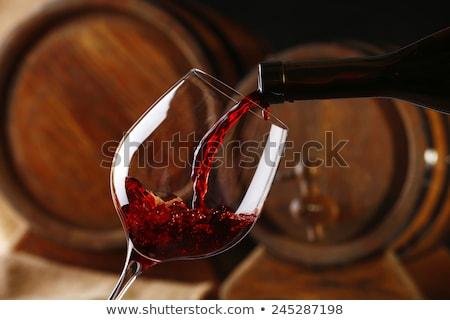 sensueel · jonge · brunette · glas · wijn · portret - stockfoto © lithian