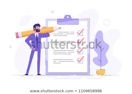 Stock photo: businessman - clipboard questionnaire