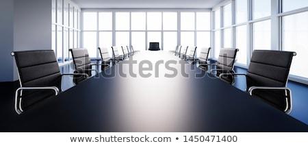 Tárgyaló kép asztal laptop papírok szemüveg Stock fotó © pressmaster