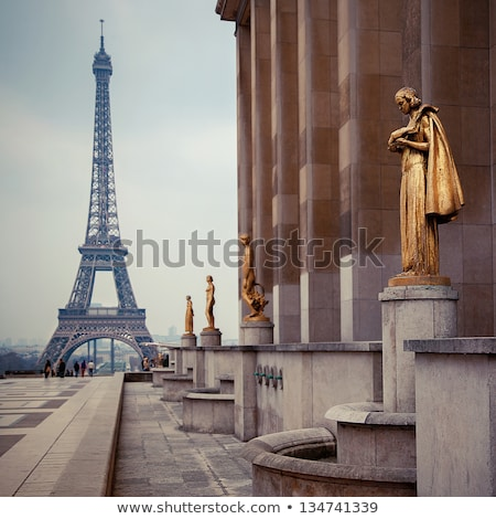 Golden Statue at the Trocadero and Eiffel Tower Stock photo © chrisdorney