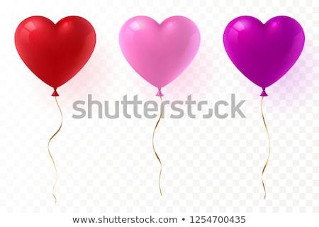 Foto stock: Coração · balões · dois · voador · vermelho · beijo