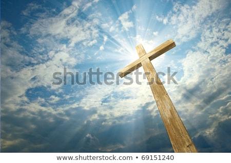 Cross cielo christian silhouette top montagna Foto d'archivio © Aitormmfoto