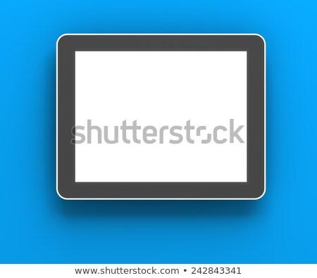 Generic Digital Tablet Against Blue Background 3d Render Stok fotoğraf © ymgerman