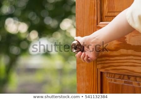 mano · apertura · porta · legno · home · sfondo - foto d'archivio © andreypopov