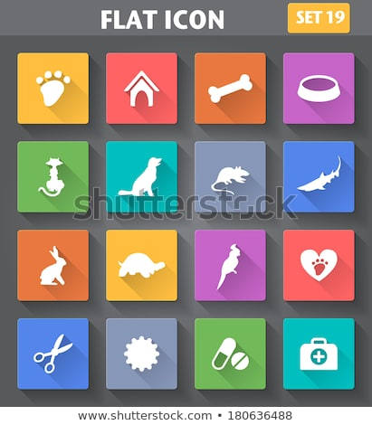Stock photo: Kitty Flat App Icon With Long Shadow