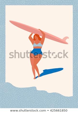 Stock photo: Summer travel beauty girl pin up, vector illustration
