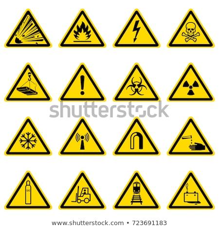 Figyelmeztető jel citromsárga vektor gomb ikon terv Stock fotó © rizwanali3d