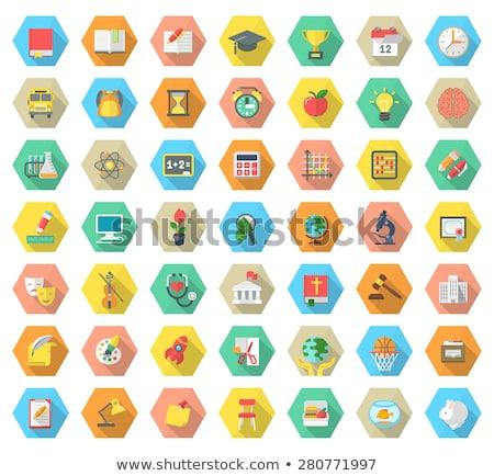 Flat Hexagonal School Subjects Icons with Long Shadows Stock photo © vectorikart