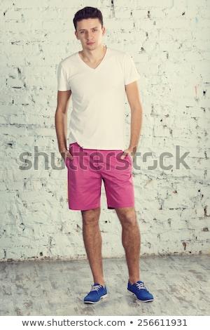 portre · profesyonel · modelleri · çıplak · gülümseme · sevmek - stok fotoğraf © konradbak