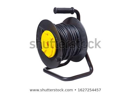 Czarny moc przewód odizolowany technologii czerwony Zdjęcia stock © shutswis