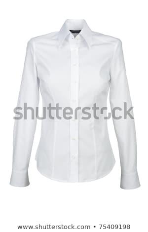 Fehér blúz magas karcsú meztelen barna hajú merő Stock fotó © disorderly
