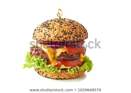cheeseburger · isolado · branco · tomates · burger · refeição - foto stock © tetkoren