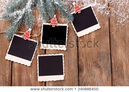 Fotó azonnali keret karácsonyfa karácsonyi üdvözlet kék Stock fotó © marimorena
