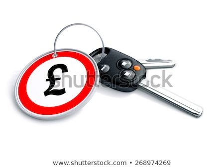 Car keys with keyring and British Pound Sterling currency symbol stock photo © crashtackle