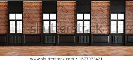 brown wooden window in masonry wall stock photo © lunamarina