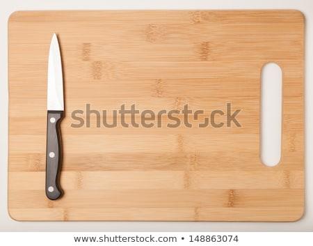 ナイフ まな板 孤立した 白 食品 木材 ストックフォト © tetkoren