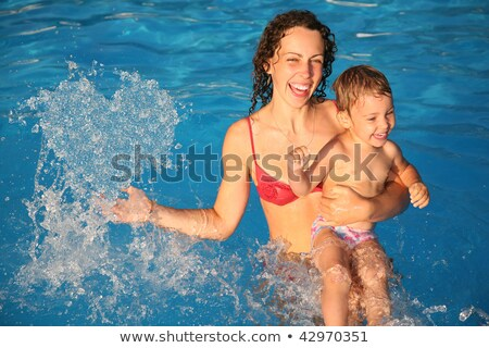 mother in water with child makes heart with drops, collage stock photo © Paha_L