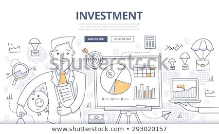 doodle · groei · grafiek · icon · Blauw · pen - stockfoto © davidarts