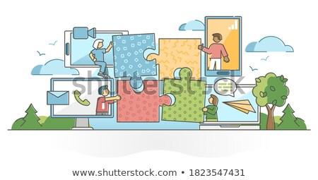 üzletember tart virtuális akta szimbólum kéz Stock fotó © fotoquique