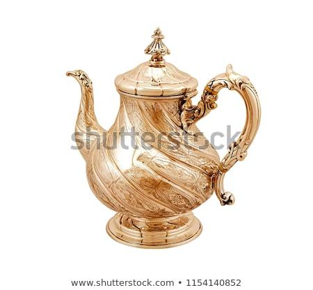 Fém tea edény fehér ital retro Stock fotó © shutswis