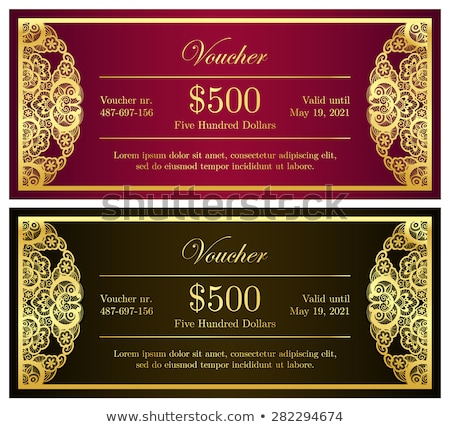 Vintage red and black voucher with golden lace decoration stock photo © liliwhite