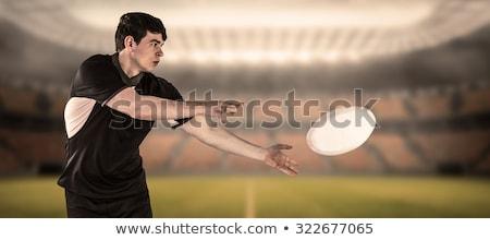 Rögbi játékos oldal passz fehér sport Stock fotó © wavebreak_media