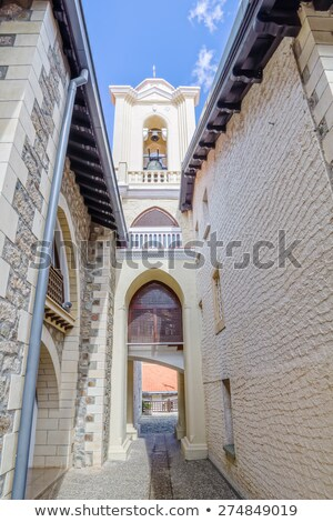 Inner yard of Kykkos Monastery with the view on the bell tower,  Stock photo © tuulijumala