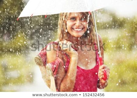 肖像 小さな 美人 雨 少女 立って ストックフォト © master1305