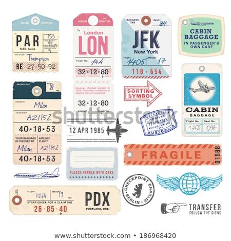 Retro maleta viaje etiqueta edad Foto stock © klikk