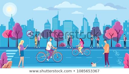 Stockfoto: Fiets · natuur · verkeersbord · milieuvriendelijk · verkeer
