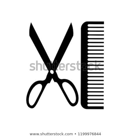 Papier lijnen schaar kam gekleurd grijs Stockfoto © limbi007
