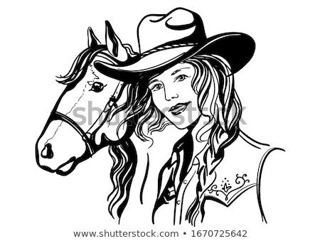 Foto stock: Cavalo · menina · chapéu · de · cowboy · jovem · ao · ar · livre · sensual