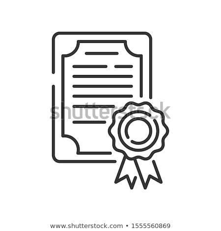 certidão · diploma · vetor · ícone · ilustração · estilo - foto stock © angelp