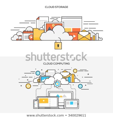 Güvenli bulut depolama ikon dizayn uygulaması Stok fotoğraf © WaD