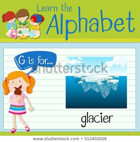 i · betű · jéghegy · illusztráció · háttér · művészet · oktatás - stock fotó © bluering