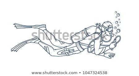 a sketch of a man scuba diving stock photo © bluering