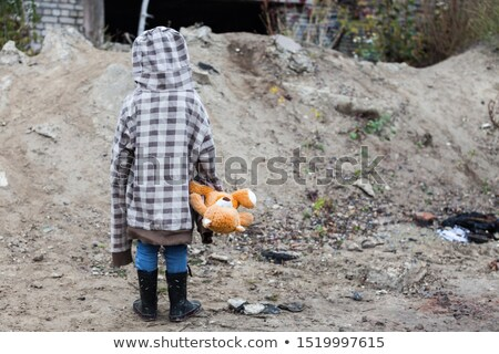 little baby with hat hugging his teddy bear stock photo © giulio_fornasar