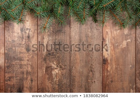 christmas tree branches on wooden texture ready for your design stock photo © vlad_star
