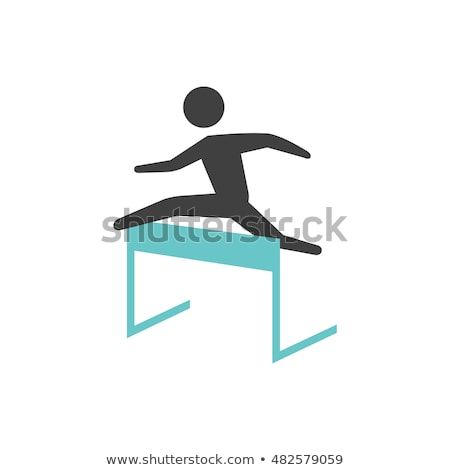 Hurdles running icon in colors Stock photo © bluering