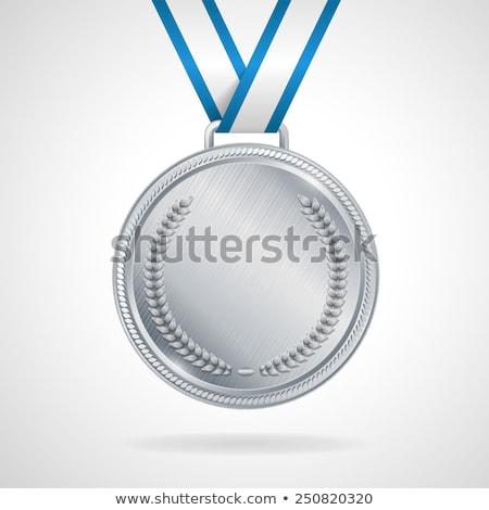 Zilver medaille sterren munt ornamenten Stockfoto © pakete