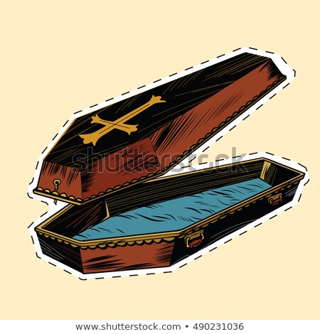 wooden coffin with Christian cross label sticker Stock photo © studiostoks