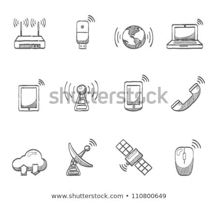 wi-fi · маршрутизатор · икона · черно · белые · служба · сеть - Сток-фото © rastudio