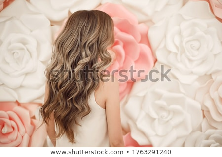 Wedding Portrait Of Beautiful brunette bride with long wavy hair Stock photo © Victoria_Andreas