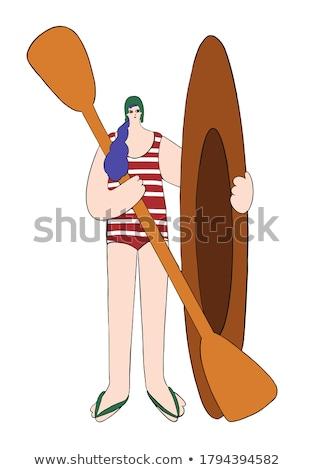 warrior surfer on surboard background Stock photo © doomko