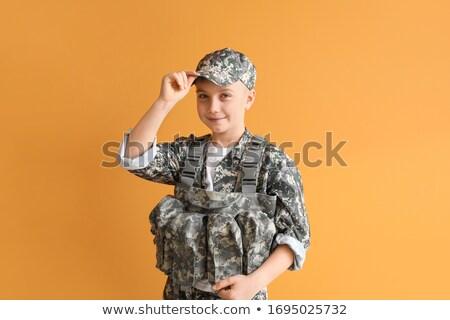 Pequeño soldado sonrisa feliz cuerpo verde Foto stock © zurijeta