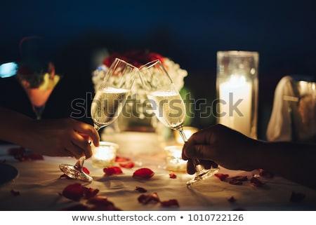 romântico · jantar · luz · de · velas · dois · ilustração · homem - foto stock © adrenalina